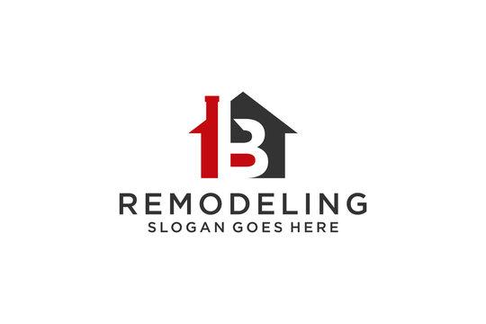 Letter B for Real Estate Remodeling Logo. Construction Architecture Building Logo Design Template Element.