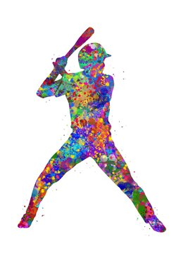 Baseball player batting watercolor art, abstract painting. sport art print, watercolor illustration rainbow, colorful, decoration wall art.