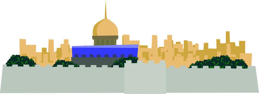 Vector illustration background landscape building Al Aqsa Mosque Palestine on white background