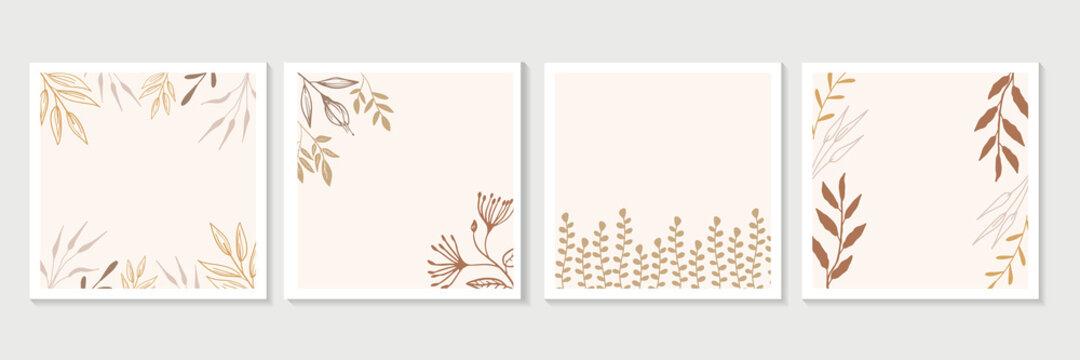 Modern minimal Art Deco wedding vector Invitation set. Boho orchid, tropical flowers, palm leaves card template