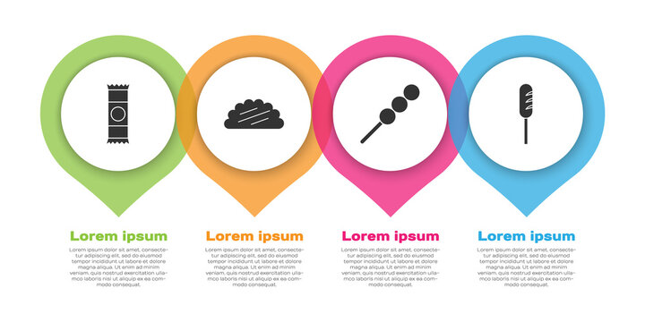 Set Chocolate bar, Taco with tortilla, Meatballs on wooden stick and Fried sausage. Business infographic template. Vector