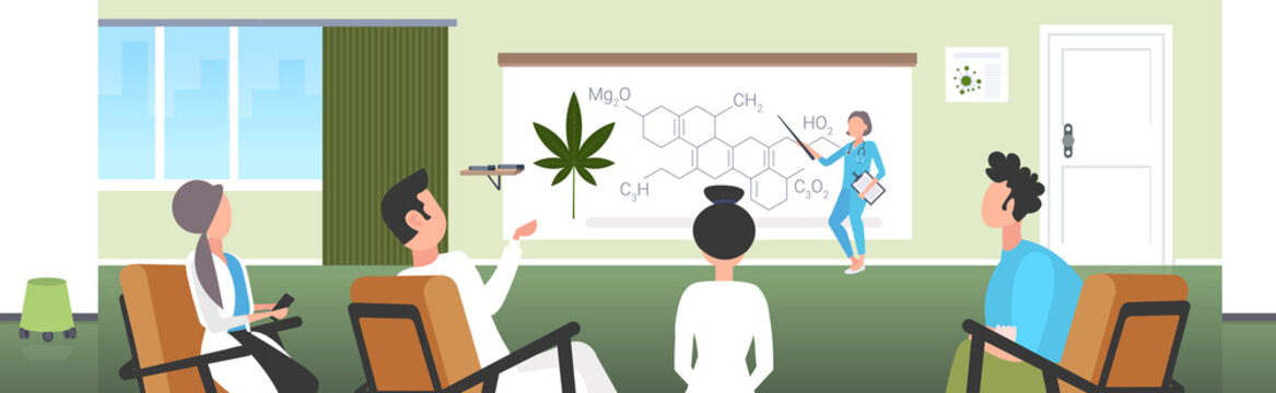 scientist presenting CBD THC cannabis hemp drug molecule for doctors team at conference meeting medical marijuana formula presentation concept horizontal