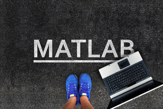 MATLAB programming language. Woman legs in sneakers standing next to laptop and word Matlab