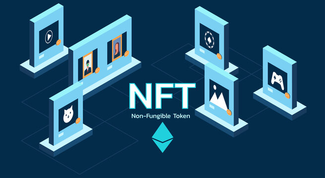 Concept of NFT, non-fungible token on internet online marketplace and crypto art or game items on blockchain technology with virtual exhibition, vector flat illustration