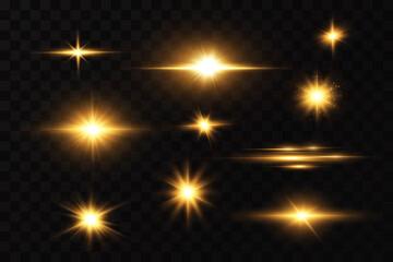 Obraz Shining golden stars. Light effects, glare, bokeh, glitter, explosion, golden light. Vector illustration. - fototapety do salonu