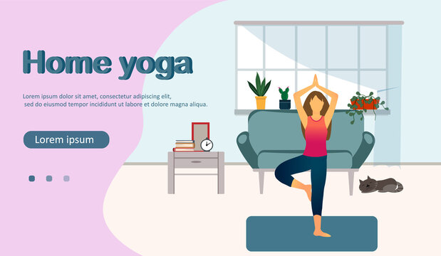 A woman practicing yoga at home, home yoga concept, stay home concept, healthy lifestyle, flat vector illustration
