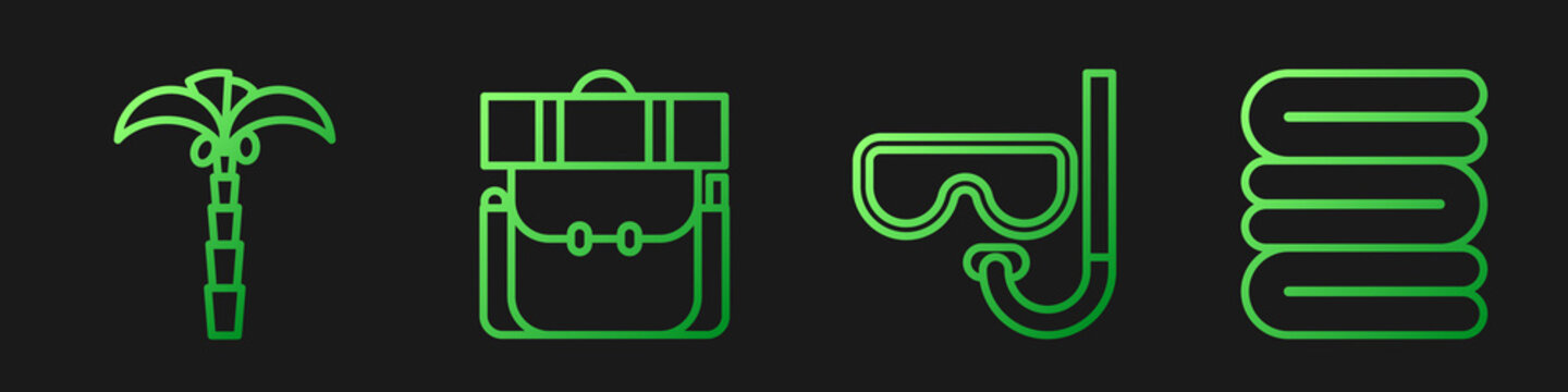 Set line Diving mask and snorkel, Tropical palm tree, Hiking backpack and Towel stack. Gradient color icons. Vector