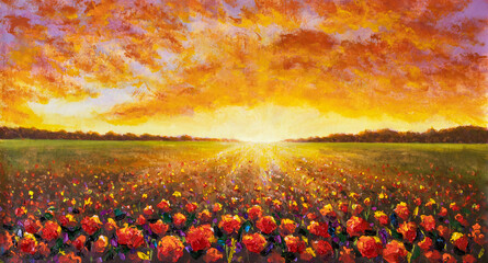Fototapeta Panorama painting of rural landscape. Sunset dawn of sun over flower field oil painting with acrylic.