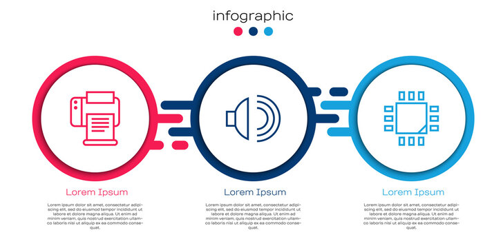 Set line Printer, Speaker volume and Processor with microcircuits CPU. Business infographic template. Vector