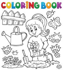 Wall Murals For Kids Coloring book girl gardener theme set 1