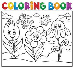 Wall Murals For Kids Coloring book happy cartoon flowers image 1