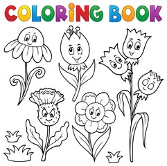 Wall Murals For Kids Coloring book happy cartoon flowers set 1