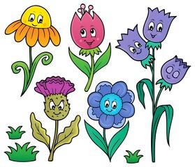 Wall Murals For Kids Happy cartoon flowers set 1