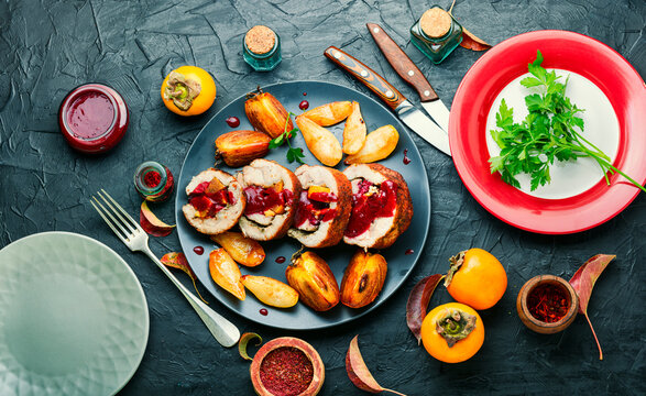 Meatloaf with persimmon on plate