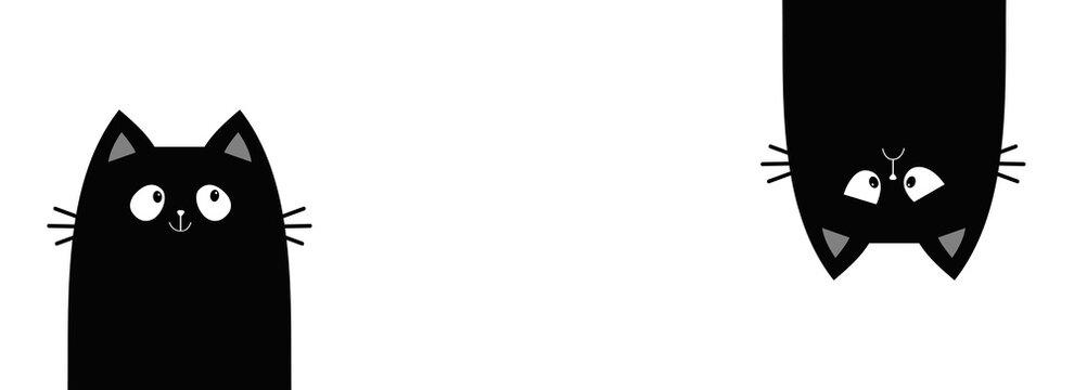 Sad happy black kitten face head. Cat set line banner. Hanging upside down. Funny Cute kawaii cartoon baby character. Notebook sticker print template. Happy Halloween. Flat design. White background