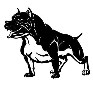 Black Pitbull Dog Breed Silhouette