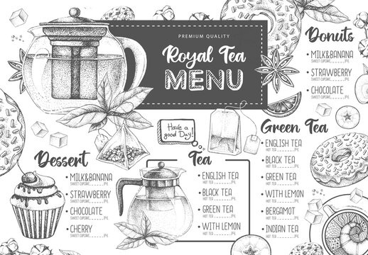 Hand drawing artistic Restaurant Royal Tea menu design. Decorative sketch of teapot. Vintage style