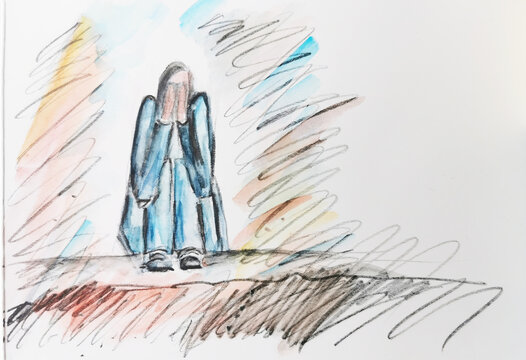 Trauriger Teenager hockt auf der Erde und weint. Psychische Belastung in Krisenzeiten bei Jugendlichen. Einsamkeit durch Mobbing und Ausgrenzung.