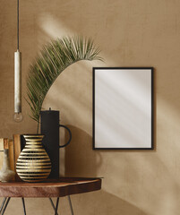 Wall Murals Mockup frame close up in nomadic home interior background, 3d render