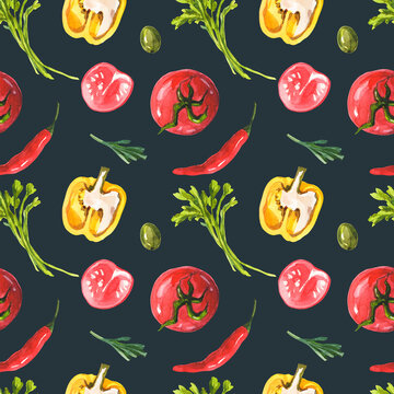 Pattern with vegetables on a green background. Seamless watercolor print. Tomatoes, red chili, yellow bell pepper, parsley, olives and rosemary.