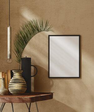Mockup frame close up in nomadic home interior background, 3d render