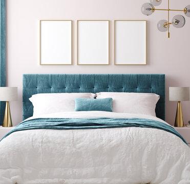 Mockup poster frame in luxury bedroom interior background, 3d render