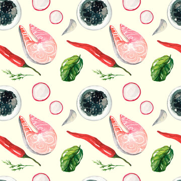 Mediterranean Kitchen. Print with seafood and vegetables. Seamless watercolor pettern on yellow background. Salmon fillet, radish, black caviar, chili and spinach.