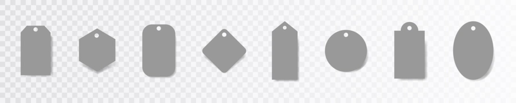 Price tags label collection. Paper sale tag set on transparent background.