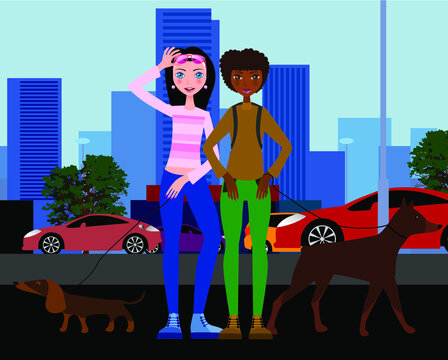 Young women of different nationalities with dogs against the background of the modern city.