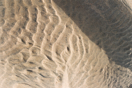 Close up of patterns in the sand