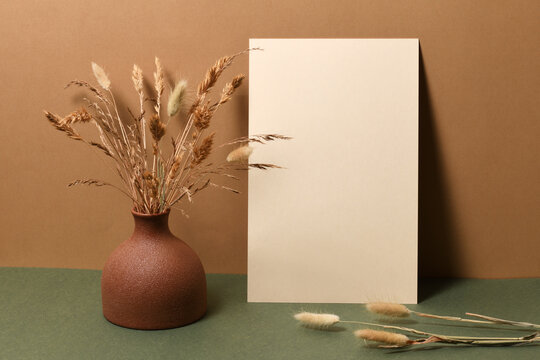 Blank paper with dry branches
