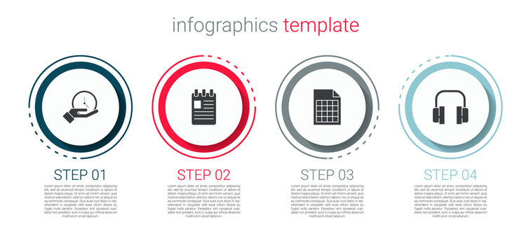 Set Clock, Spiral notebook, File document and Headphones. Business infographic template. Vector