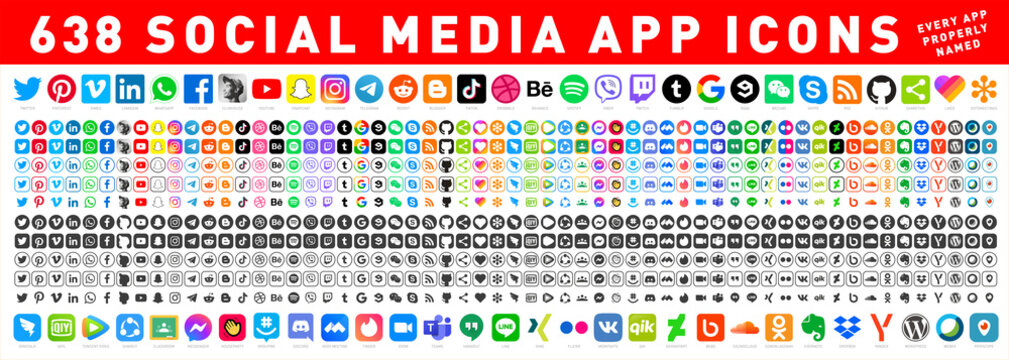 638 Social media icons. Facebook, Instagram, Twitter, Youtube, Pinterest, Behance, Vimeo, Google, Skype, Viber, TikTok, Whatsapp, Linkedin, Telegram, WeChat, Dribble, Reddit, Blogger. Editorial vector