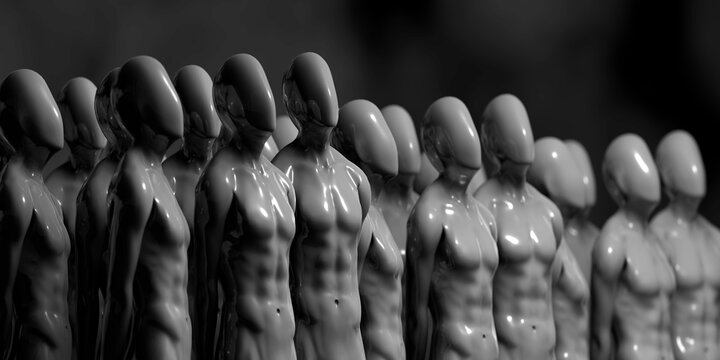 3D illustration - Group of humanoids looking at the sky
