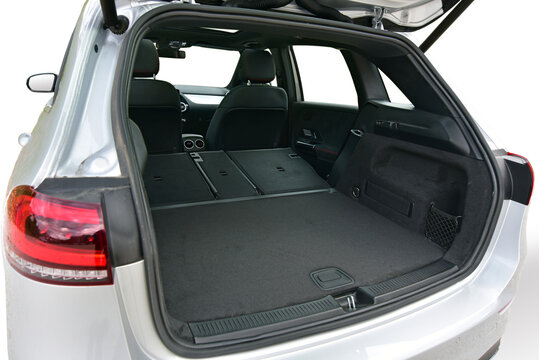Empty trunk with rear seats folded of the passenger car