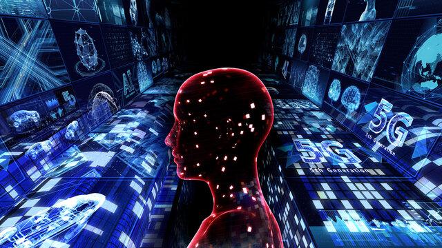Mass Surveillance Spy-cam Smart City AI Network Technology 3D illustration