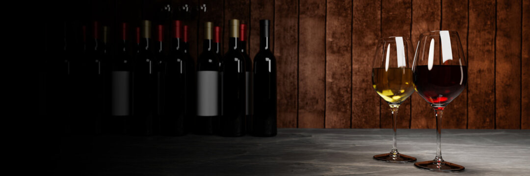 Red and white wine in clear glass, many blurred wine bottle backgrounds Place it on a cement floor with a wooden board wall. The cellar Tasting production concept.3D Rendering