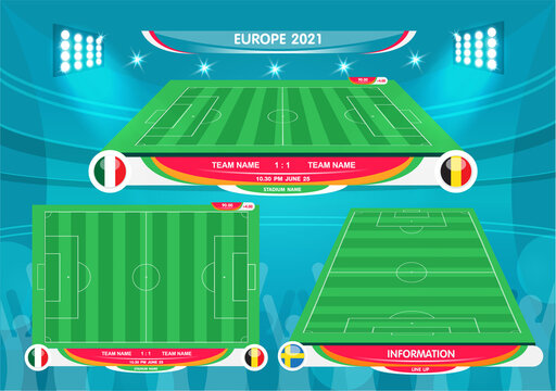 Soccer European championship 2021. soccer playing field with strategy elements. set of infographic elements. Vector illustration.