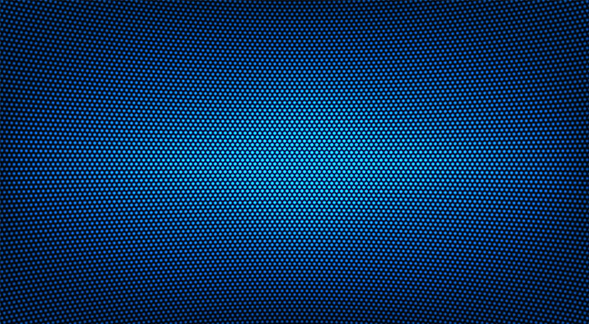 Led TV texture. Digital display. Blue videowall. Lcd monitor with points. Pixel screen. Electronic diode effect. Projector grid template with bulbs. Television background. Vector illustration.