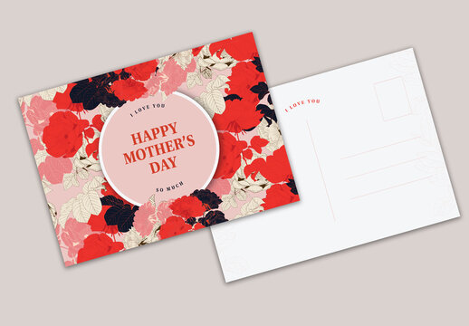Red and Pink Floral Postcard for Mother's Day