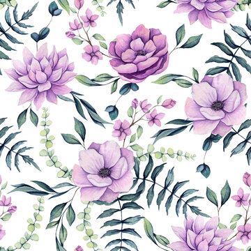 Seamless Pattern of Watercolor Fern Leaves and Pink Flowers