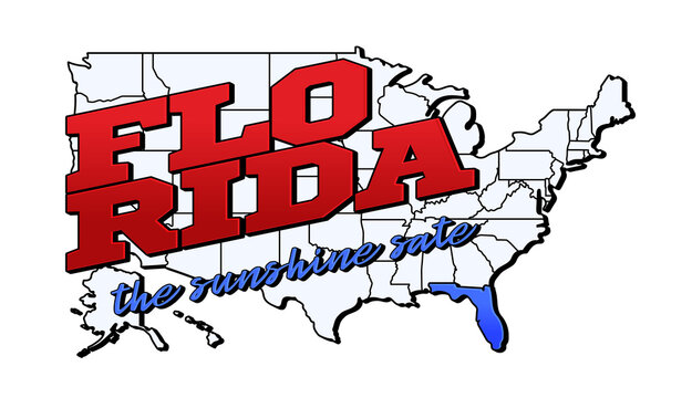 florida state. Vector illustration with US florida state on american map with lettering. Touristic Greeting Card isolated on white