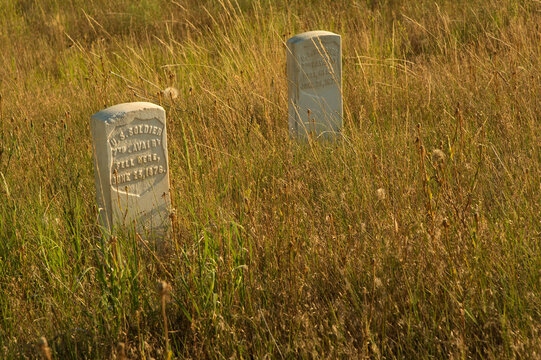 Grave markers at Little Bighorn National Battlefield;  Montana