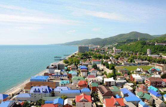 Village on the Black Sea coast. View from above. Sochi, Russia