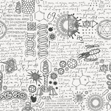 Vector seamless pattern on topic of virology, chemistry, biology, medicine. Abstract background with hand-drawn sketches and handwritten text lorem ipsum. Monochrome wallpaper, wrapping paper, fabric
