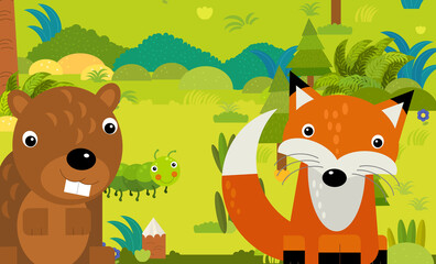 cartoon scene with different european animals in the forest