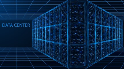 Fototapeta Data center. A room with servers for digital processing and storage of information. Polygonal construction of connected lines and points. Blue background.