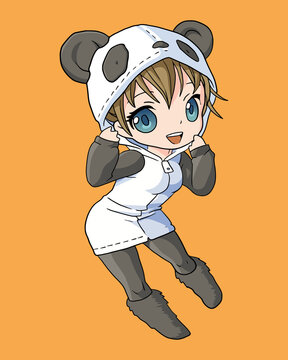 Cute girl with panda costume anime chibi character style vector illustration