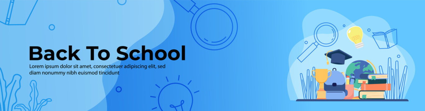 Back to school Web Banner Design. School bag, trophy, stack of books, education ornament. header or footer banner.