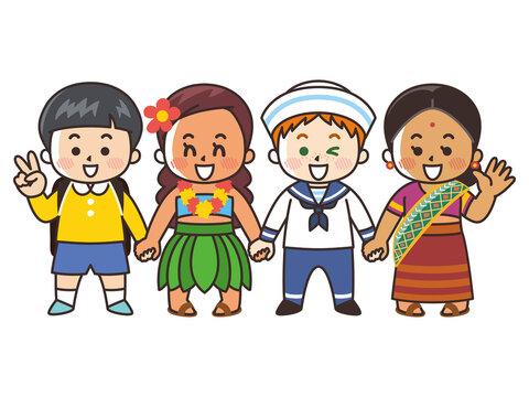 手を繋ぐ世界の子供たち 人種 国籍 平和